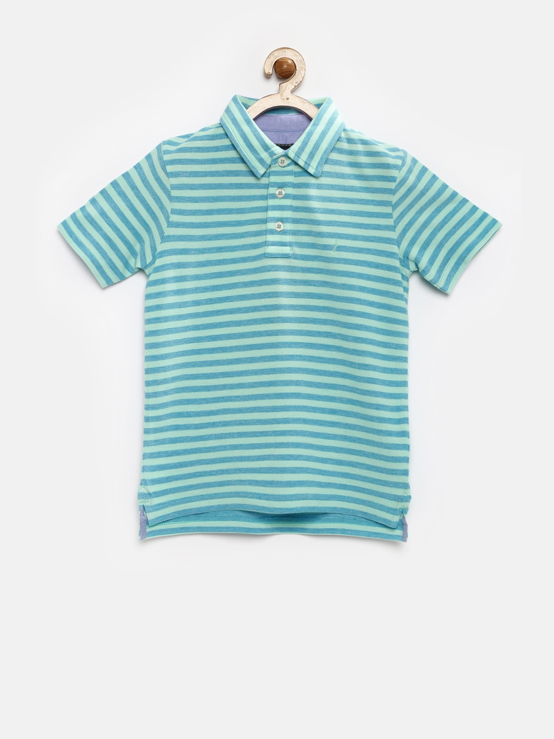 f6378734cc Indian terrain tbs16tsk154-sky Boys Blue And Green Striped Polo T Shirt-  Price in India