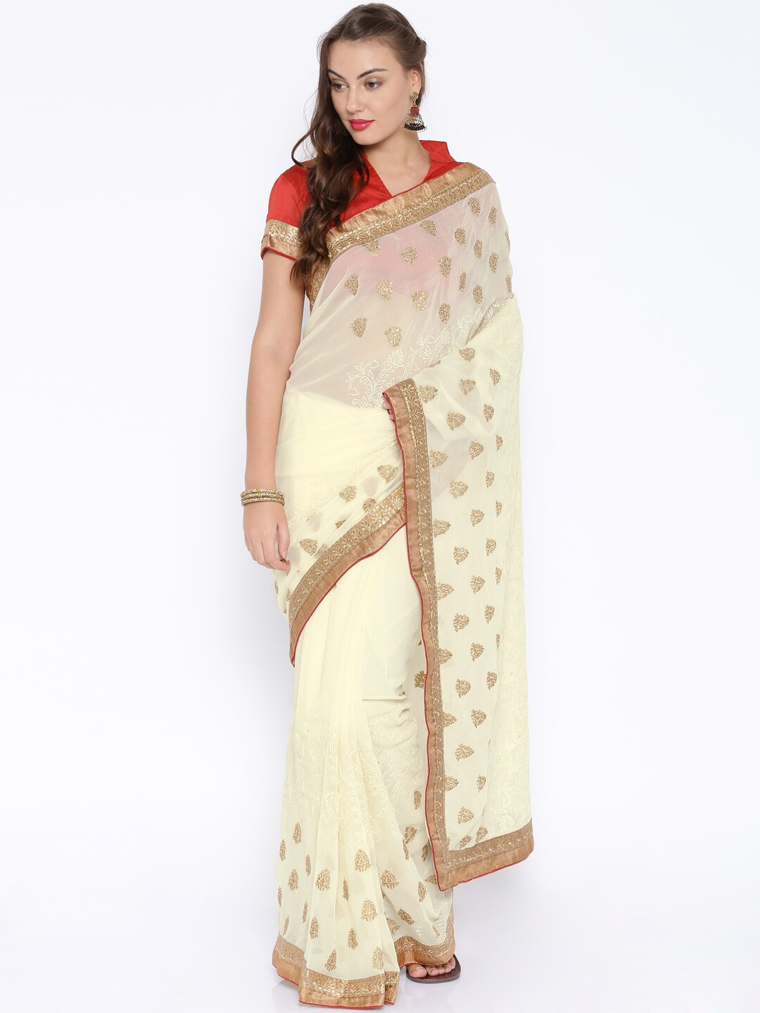 c028000a3 Soch shzl-sr-14015 Off White Embroidered Chanderi Chiffon Embellished Saree-  Price in India