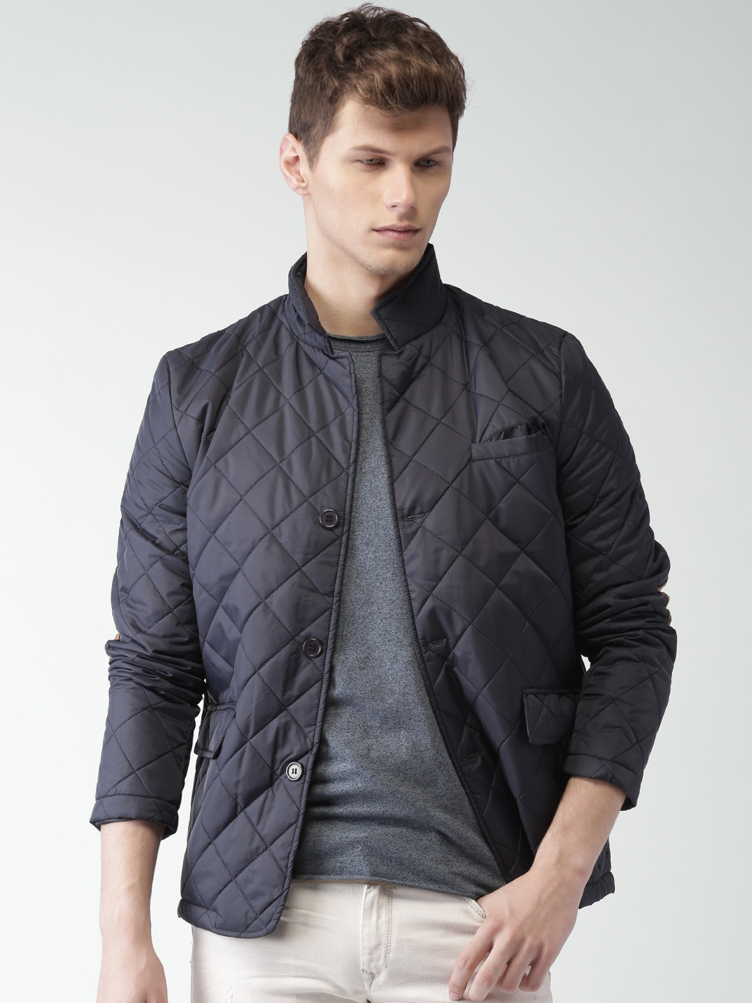 a99f315bcd172 Buy WROGN Men Navy Blue Solid Quilted Jacket - Jackets for Men ...