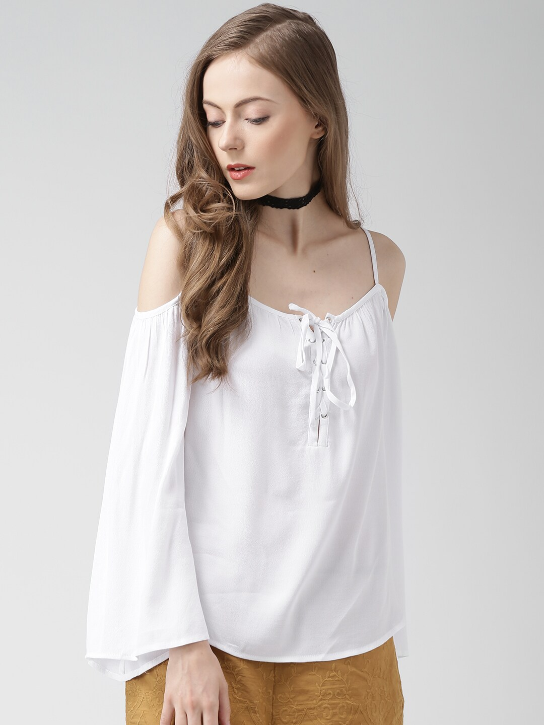 6ae7875de12f Forever 21 15349602 White Cold Shoulder Top - Best Price in India ...