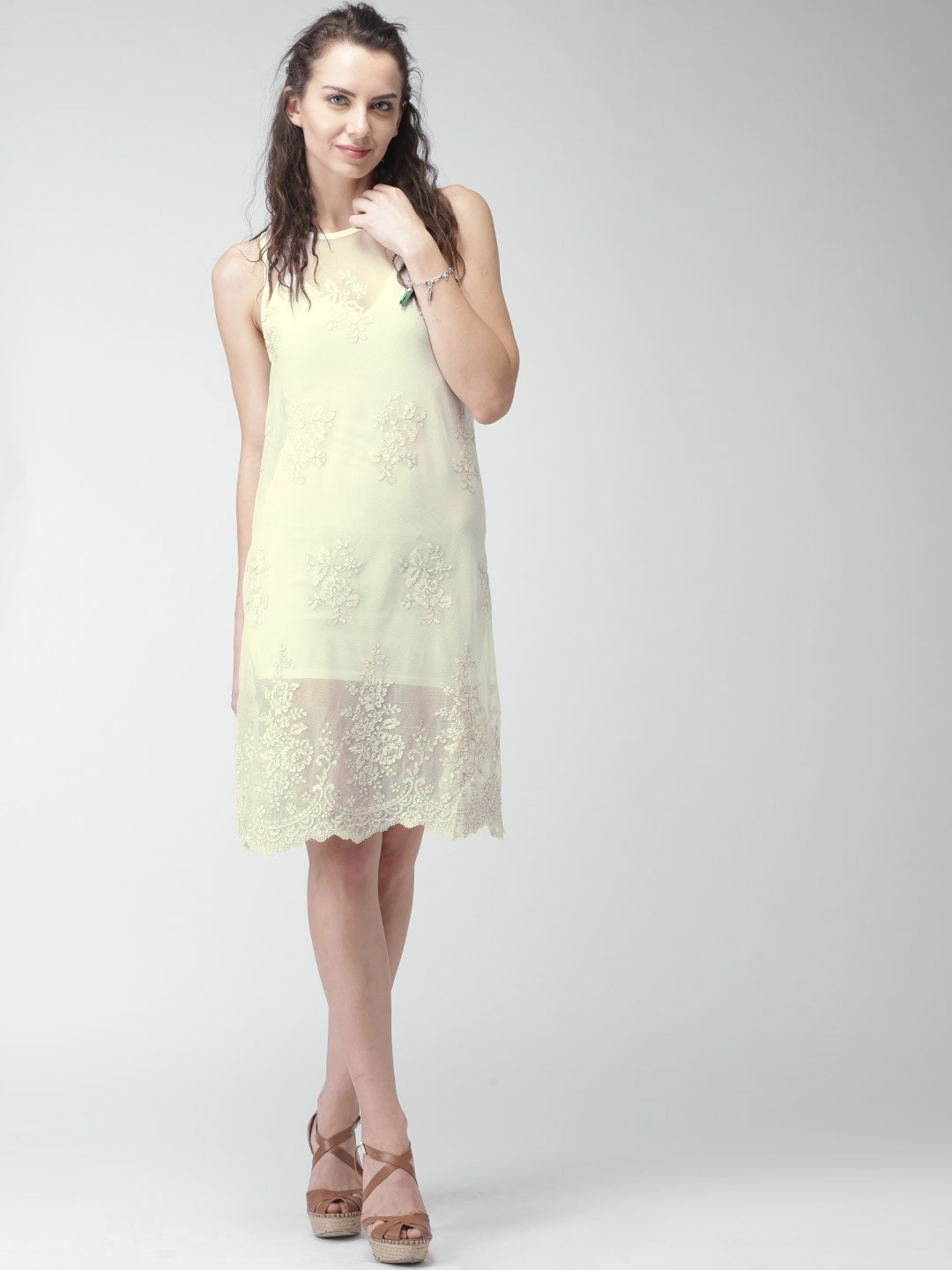 Buy Only Off White Polyester Lace Midi Dress Dresses For Women