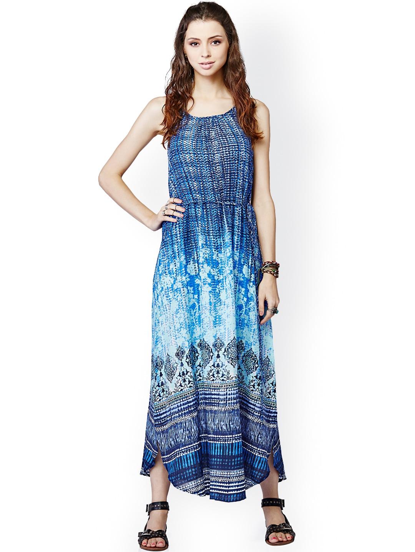 d26cd12b9eb Global desi 56867b-md-718 Blue Printed Maxi Dress - Best Price in ...