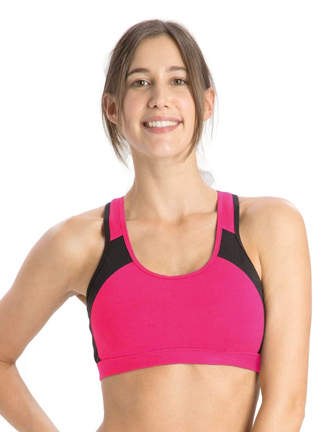 441cf91482c4c Jockey 1380-0105-ru-bl Pink And Black Power Back Active Sports Bra 1380-  Price in India