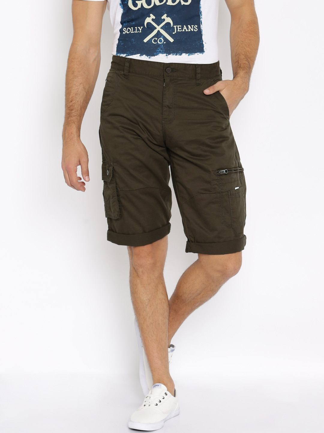 5e52cbe7 Buy Locomotive Blue Slim Fit Cargo Shorts - Shorts for Men 1378862 ...