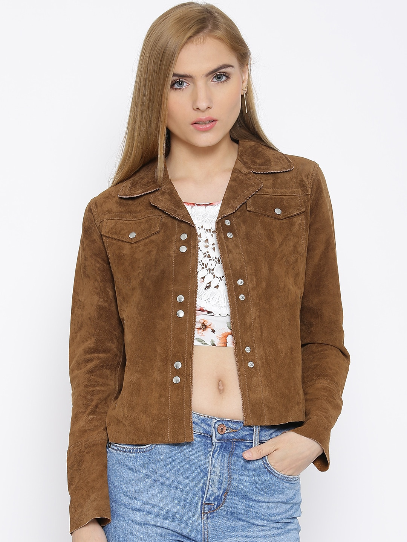 4c7cdb2d0b077 Mango 73090247-31 Brown Leather Jacket - Best Price in India ...