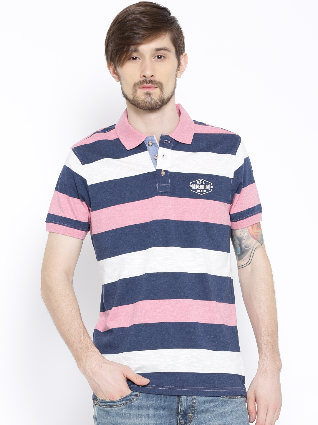 d3543446 Numero uno nmfnhz595-navy-mel Pink And Navy Striped Polo T Shirt- Price in  India