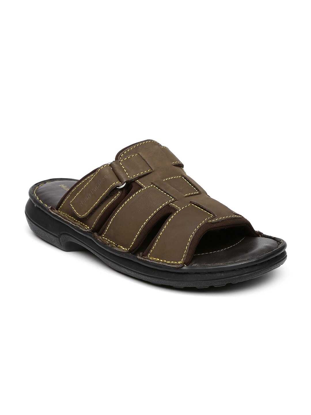 8744619 Men Hush Leather Puppies Sandals Brown Price Best In 45RALcj3q