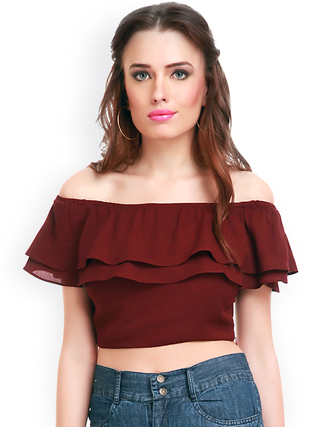 1906f35293e849 Buy SASSAFRAS Green Off Shoulder Crop Top - Tops for Women 1510814 ...