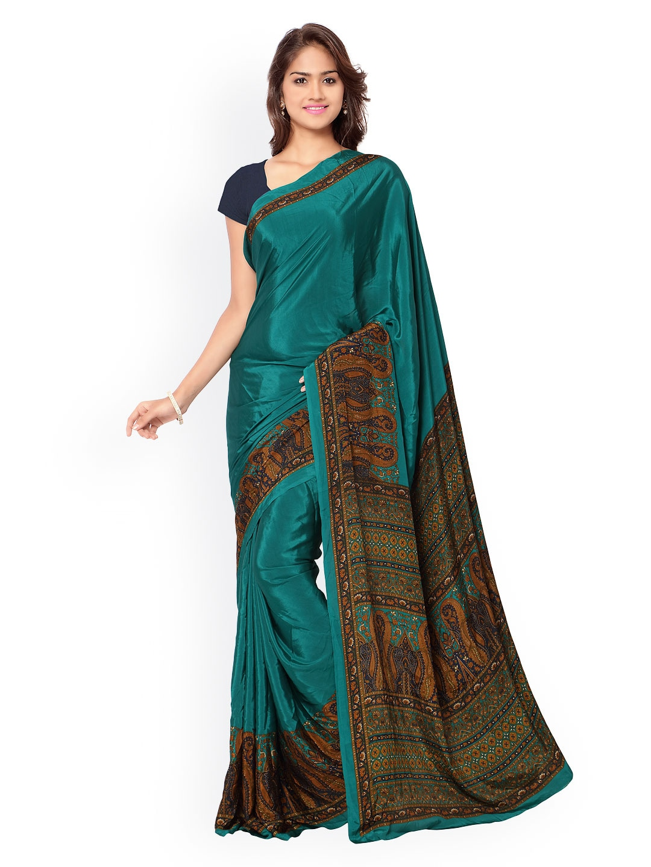 31c8fe3d6a Buy Ligalz Black Crepe Silk Saree - Sarees for Women | Myntra