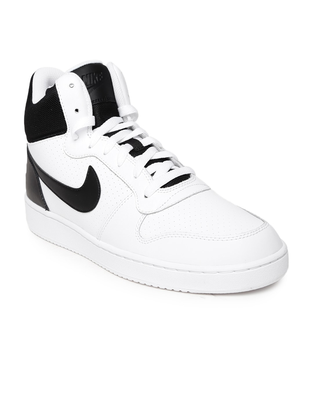 0727251872750 Nike 838938-100 Men White And Black Court Borough Mid Top Leather Sneakers-  Price in India