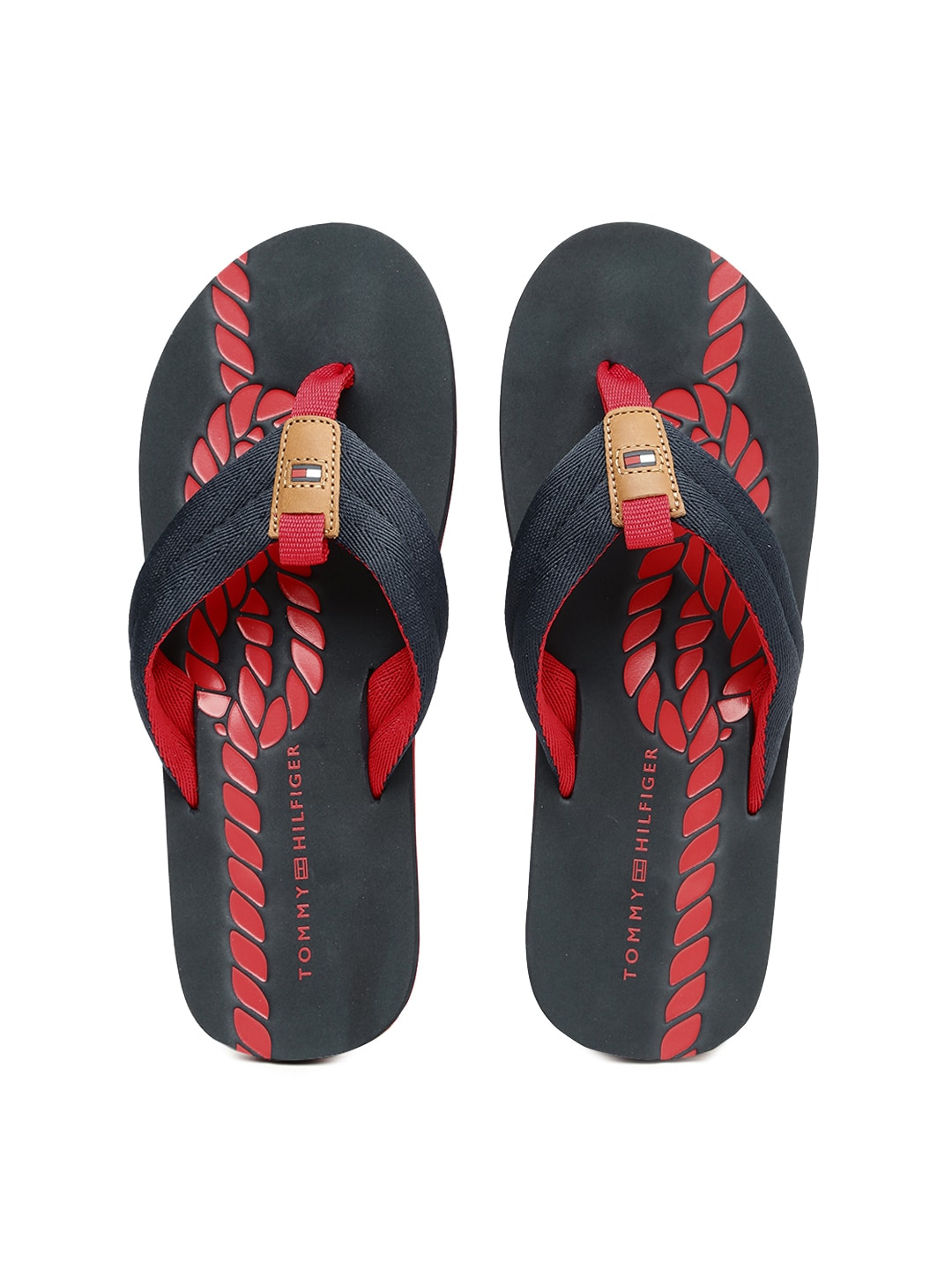4da46afe7ea2a3 Tommy hilfiger a6amf013 Men Navy And Black Printed Flip Flops- Price in  India
