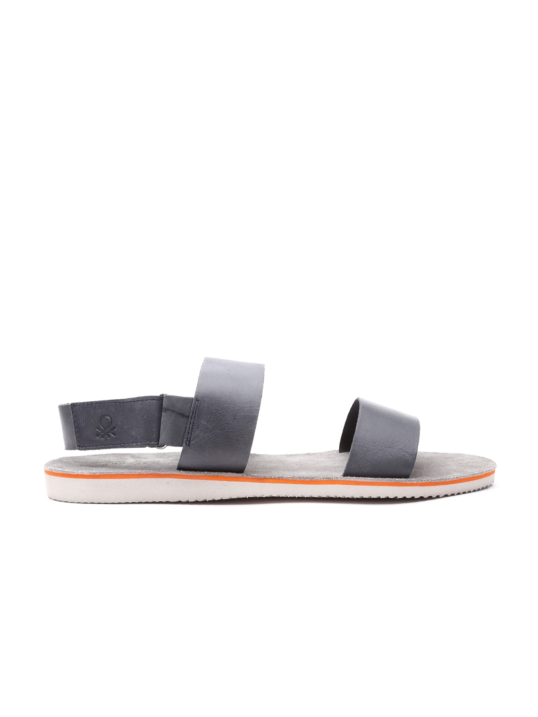 b400e625481a6 United colors of benetton 16a8leatfw17i-901 Men Grey Leather Sandals- Price  in India