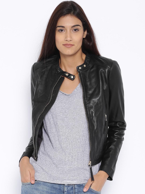 996280f469cd5 Mango 73043507-99 Black Leather Biker Jacket - Best Price in India ...