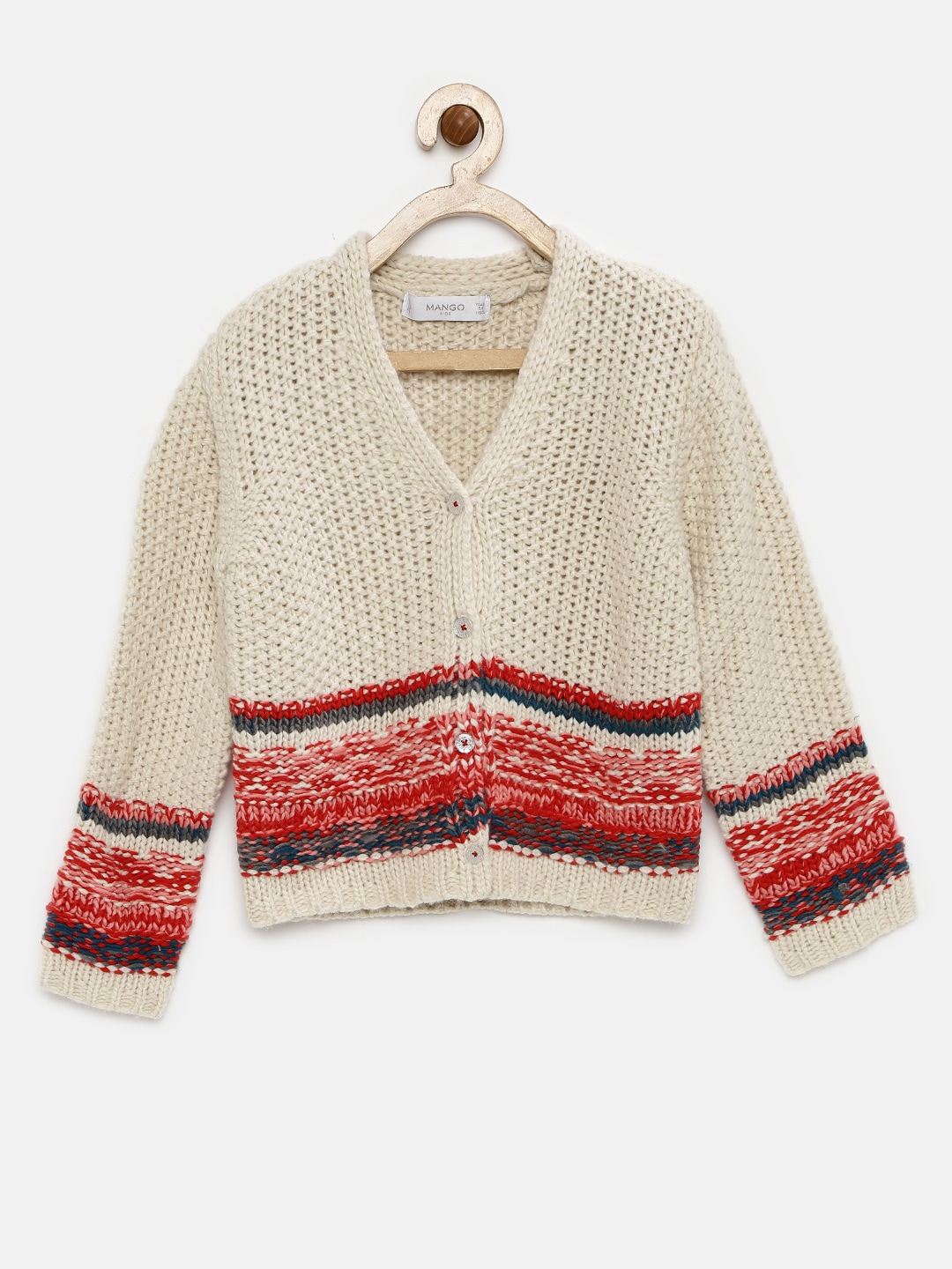 3ba25803634 Mango kids 73060187-5 Girls Off White And Red Knitted Cardigan ...