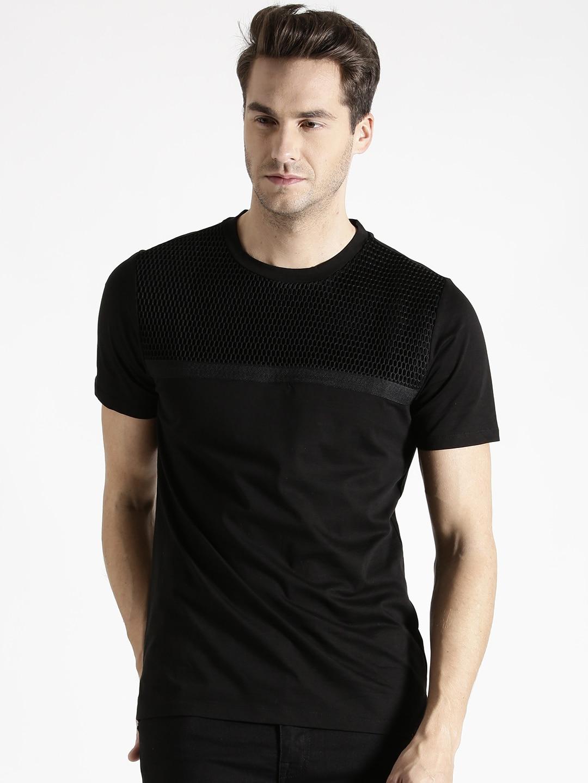 3d5bc85f Antony morato mmks00893-9000 Men Black Round T Shirt- Price in India