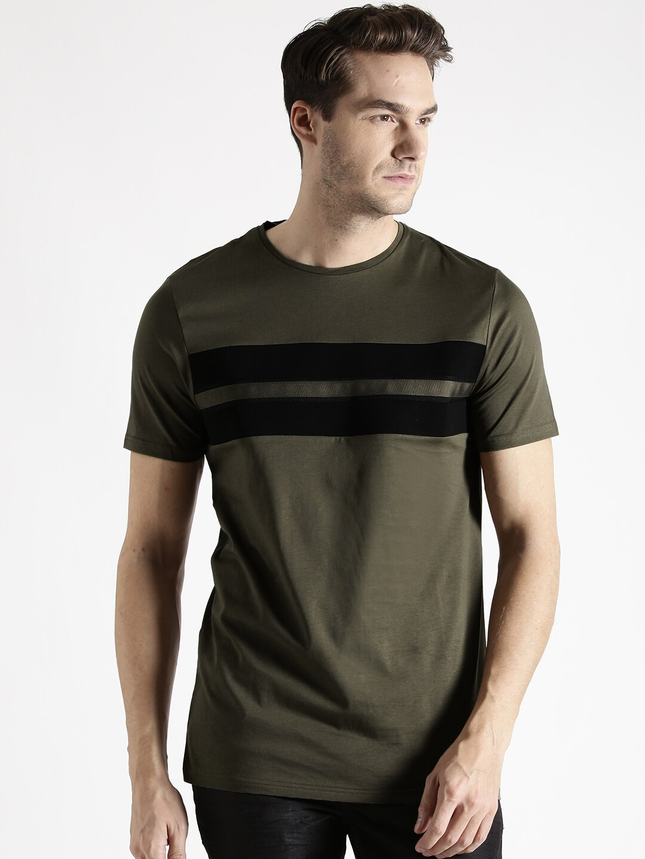 4319a2c1 Antony morato mmks00939-4025 Men Olive Green Striped Detail T Shirt- Price  in India
