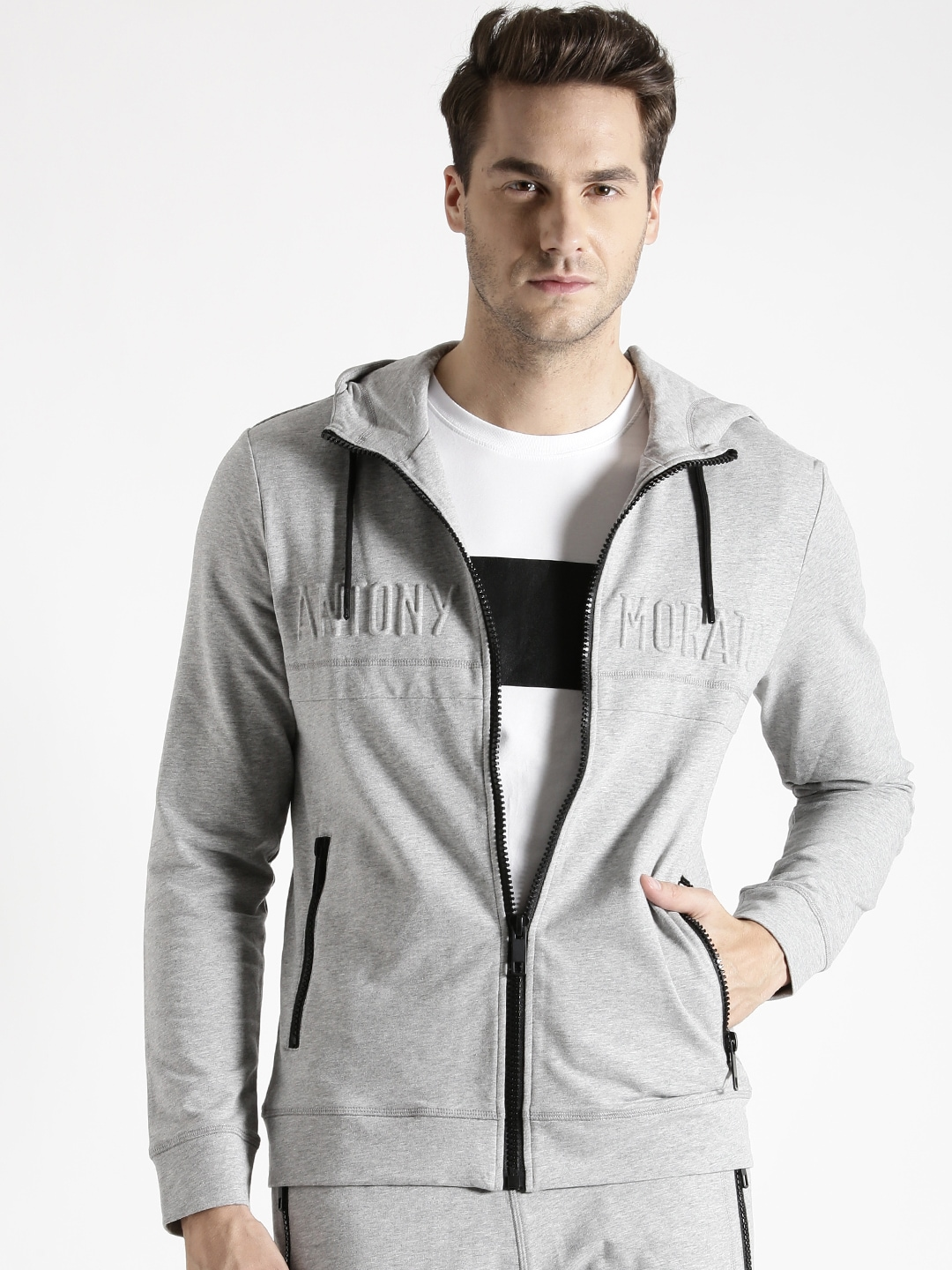 official cozy fresh cheap Antony morato mmfl00261-9013 Grey Melange Hooded ...
