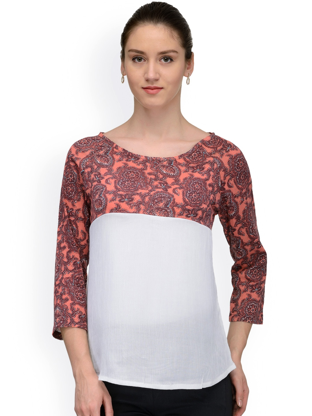 9b8d267f0d633 The gud look 10004646 Women Coral Pink And White Printed Top- Price in India