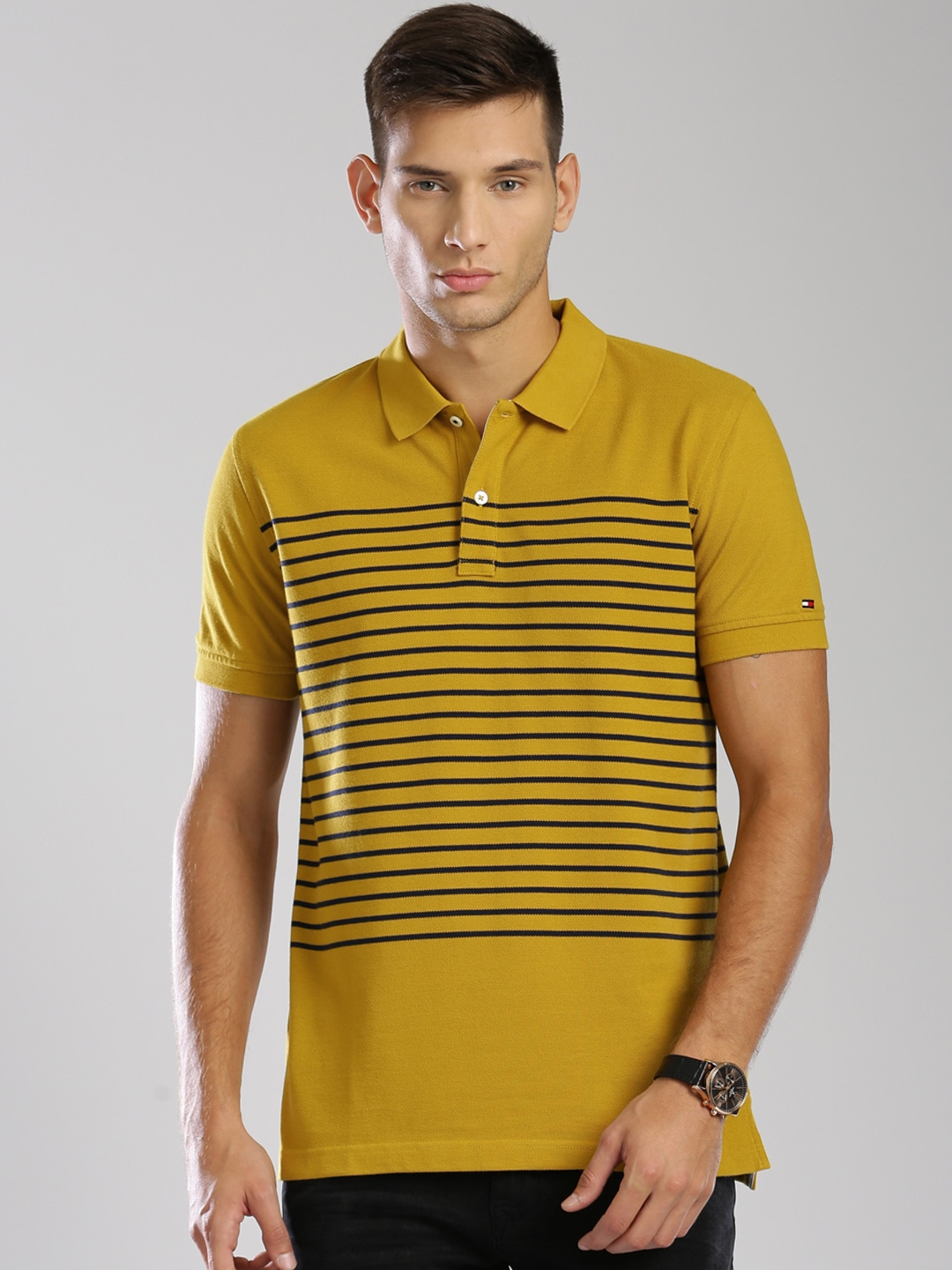 26654f9b5 Tommy hilfiger a6amk079 Men Mustard Striped Polo T Shirt- Price in India