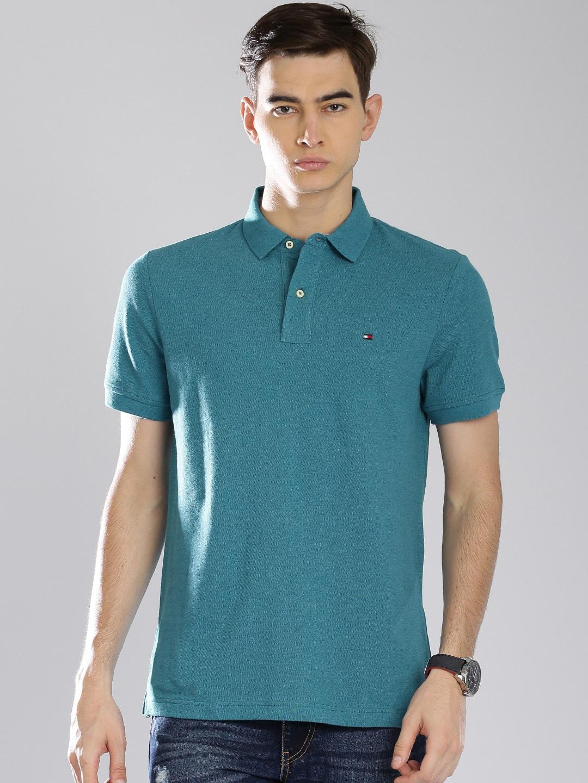 Tommy hilfiger a6cmk012 Men Teal Blue Solid Polo T Shirt