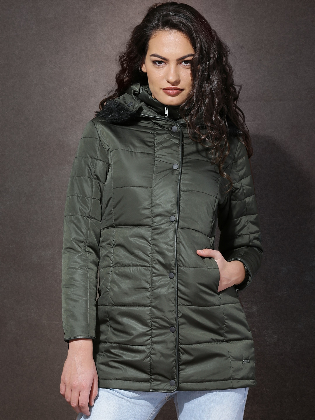 8e35438f06d Roadster Olive Green Hooded Tailored Jacket With Detachable Faux Fur Trim
