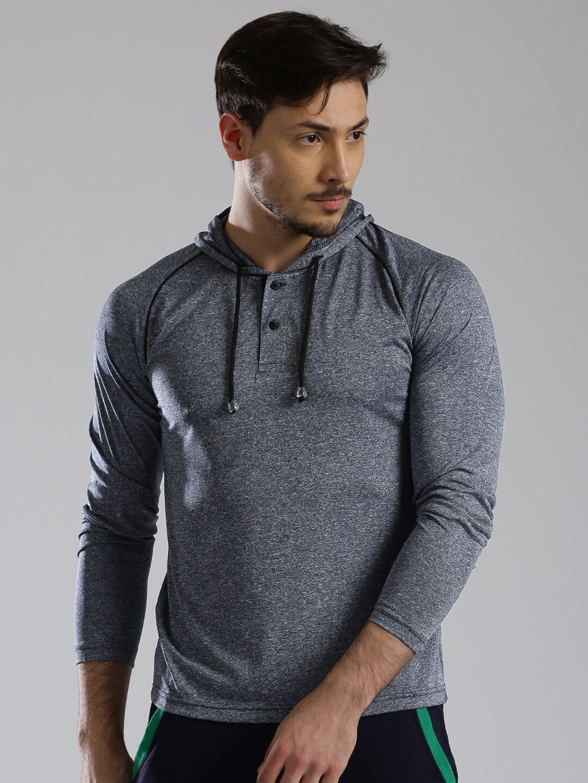 Design your t shirt myntra - Hrx By Hrithik Roshan Men Grey Self Design Hooded T Shirt