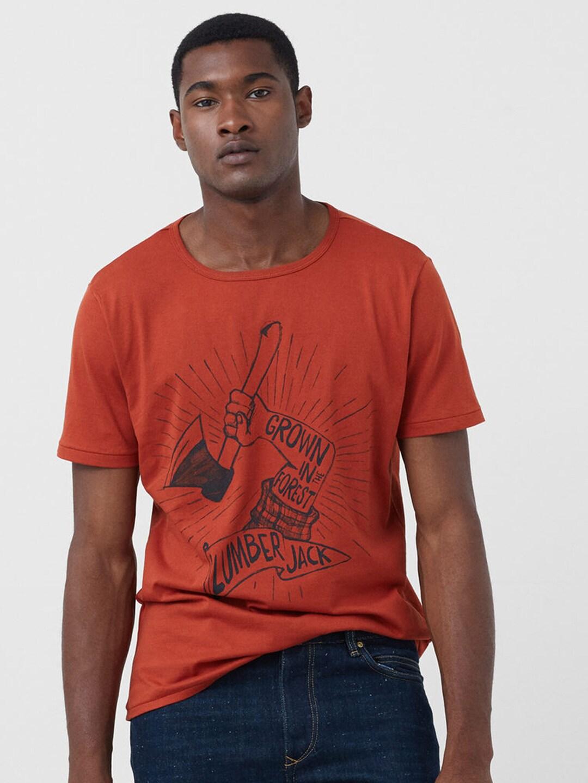 He by mango 73037004-28 H E By Mango Men Orange Printed Round Neck T Shirt-  Price in India 84297c32e