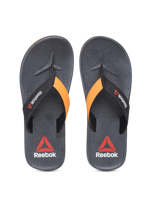 7a6f3a2bfc9e71 Reebok bd3945 Men Black And Orange Adventure Flip Flops- Price in India
