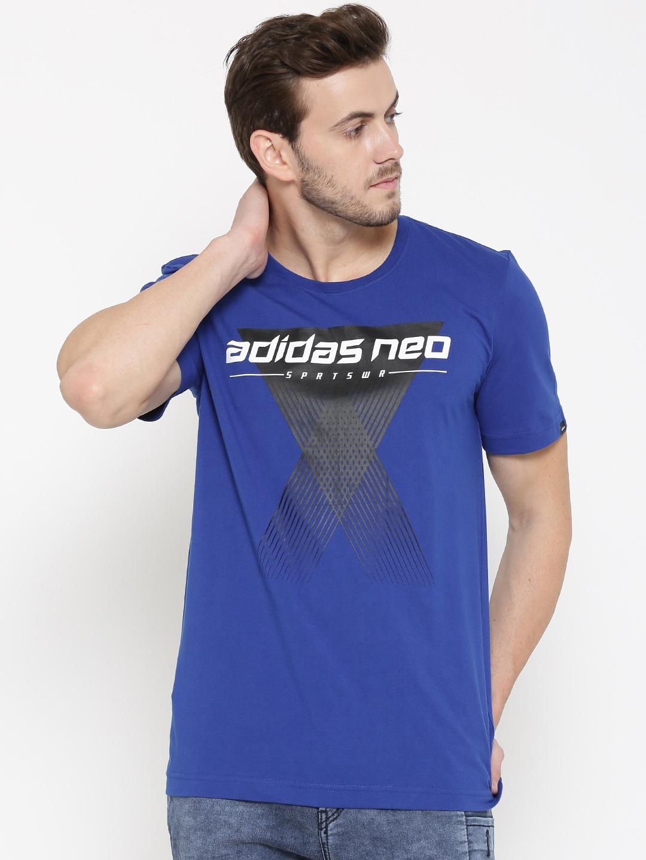 6bd733d5f497 Adidas neo ay9825 Men Blue Cs Lg Graphic Print Round Neck T Shirt- Price in  India
