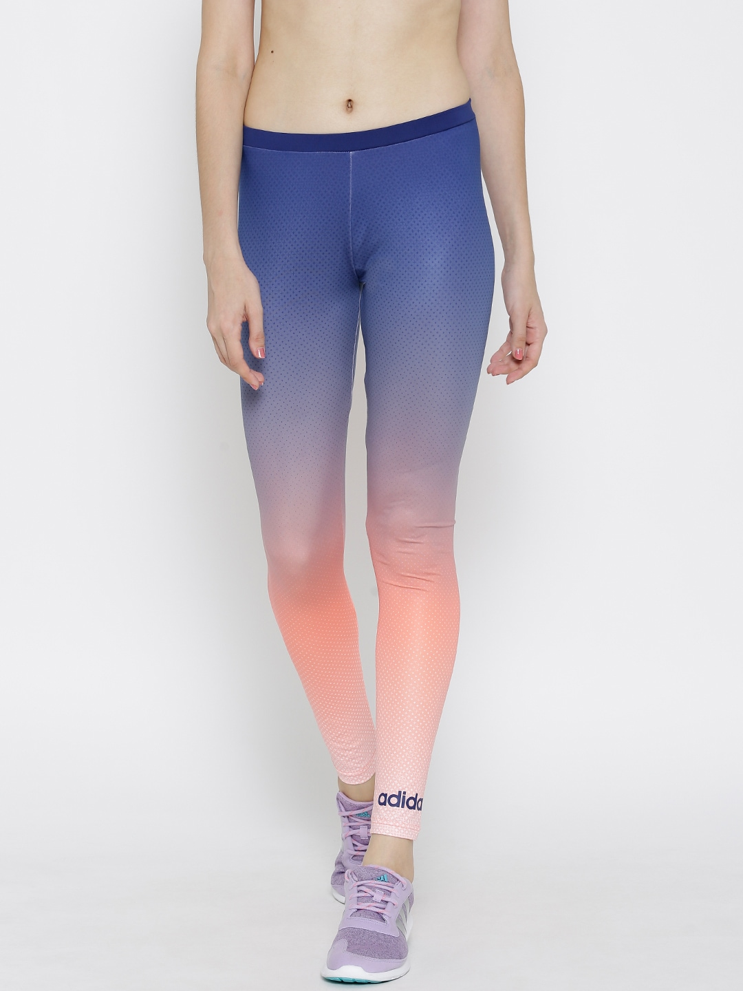 b66bc5f2e845e Adidas neo ay5847 Blue And Peach Coloured Std Ombre Dyed Printed Tights-  Price in India