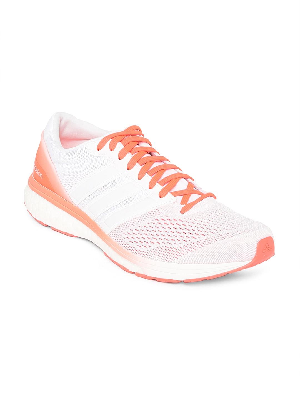 adidas aq5990 uomini bianco e arancione adizero boston 6 scarpe da corsa