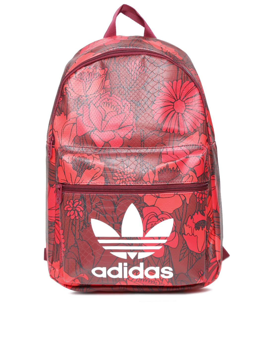 9b7c9027ebb4 Adidas originals ay5890 Women Maroon And Red Bp Classic Floral Print  Snakeskin Textured Backpack- Price in India