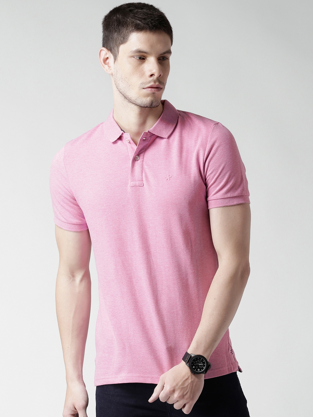 159bb00ad519c Celio 8904231514140 Men Pink Solid Polo Collar T Shirt - Best Price ...