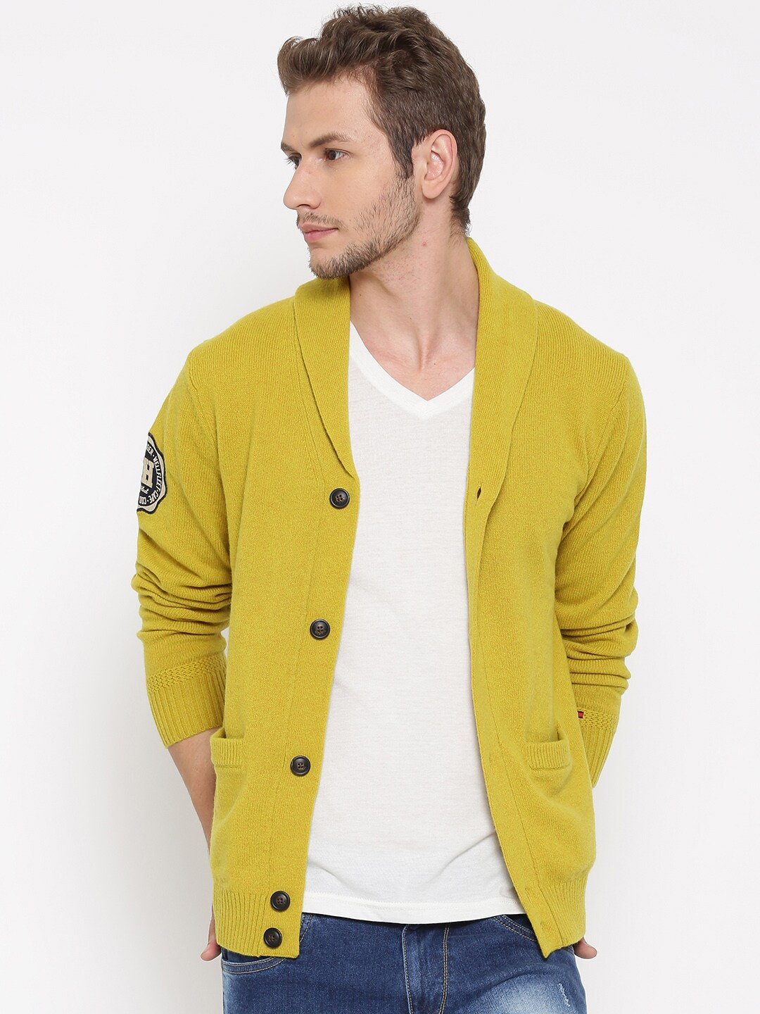 8c56d6cb586 Tommy hilfiger a4ams015 Men Lime Green Solid Cardigan- Price in India