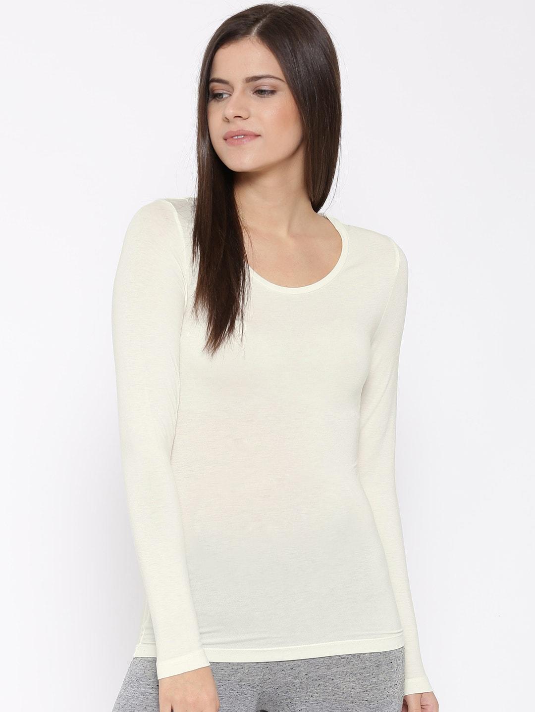 Marks and spencer 9100-light-cream Women Off White Heatgen Solid ...