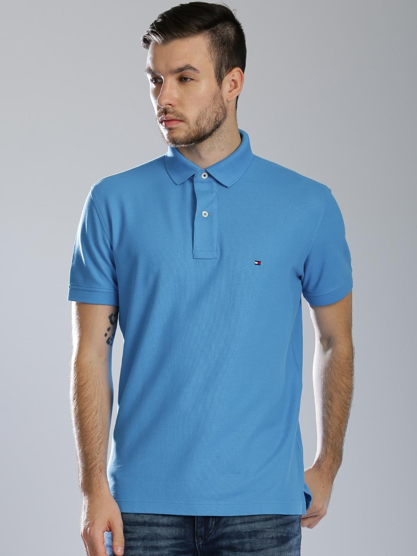 Tommy hilfiger a6amk082 Men Blue Solid Polo T Shirt Best