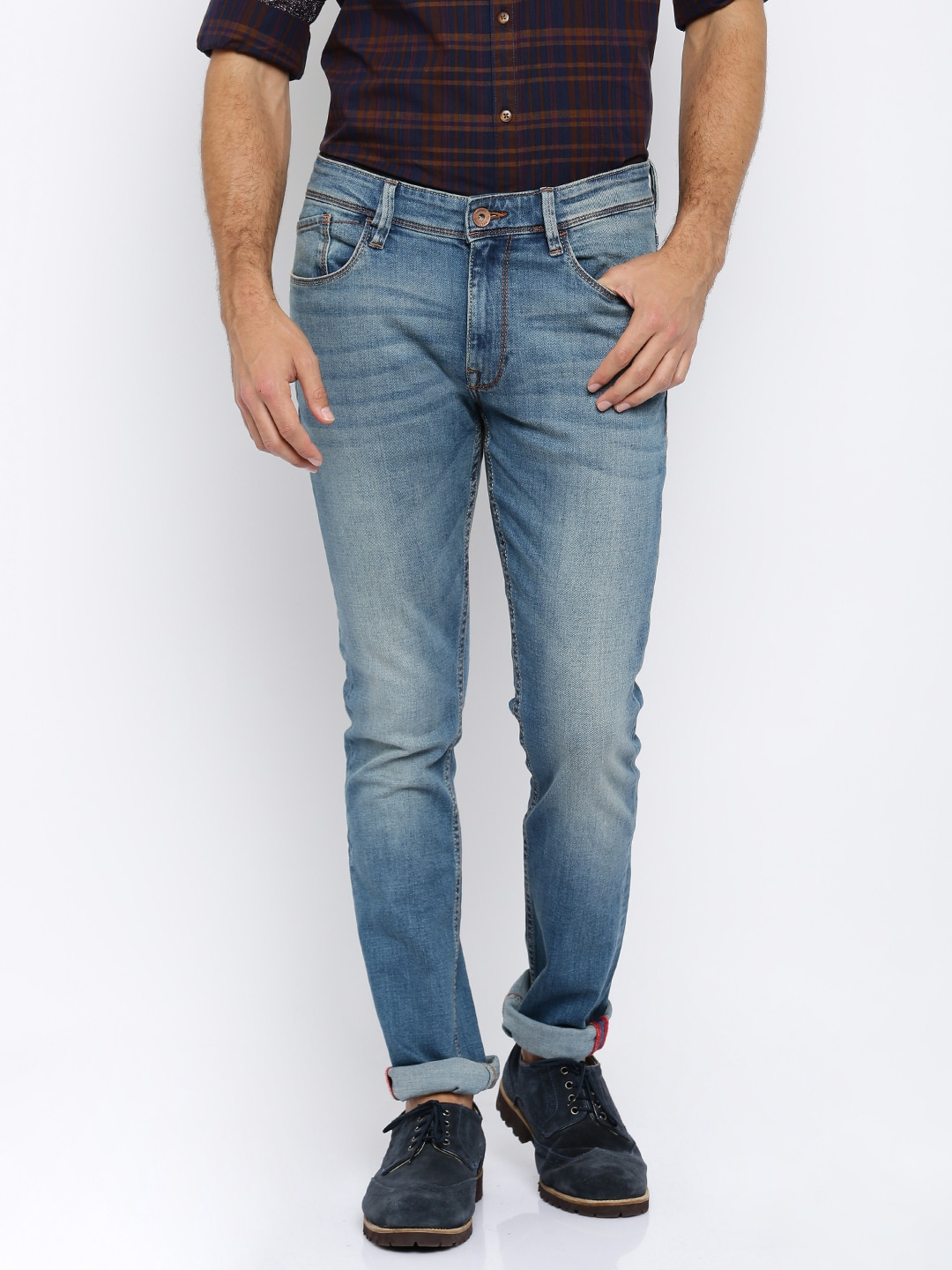 08524e79 Buy Arrow Blue Jean Co. Men Grey Washed James D Slim Fit Stretchable ...