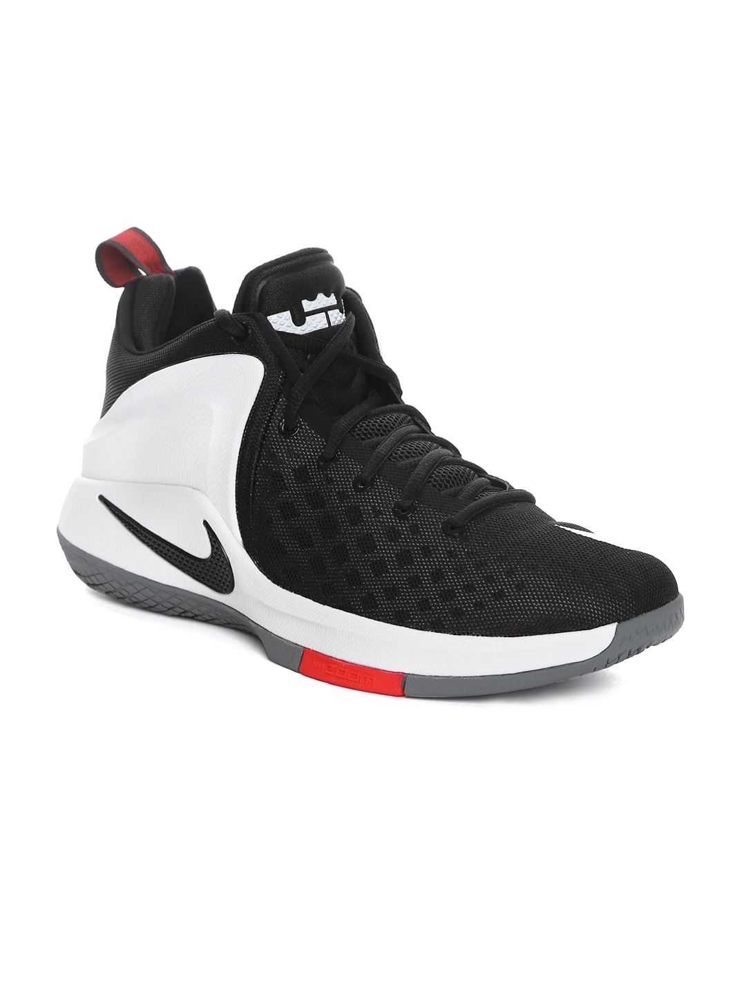 best service bf839 a9b08 Nike 852439-003 Men Black And White Zoom Witness Lebron James Mid Top  Basketball Shoes- Price in India
