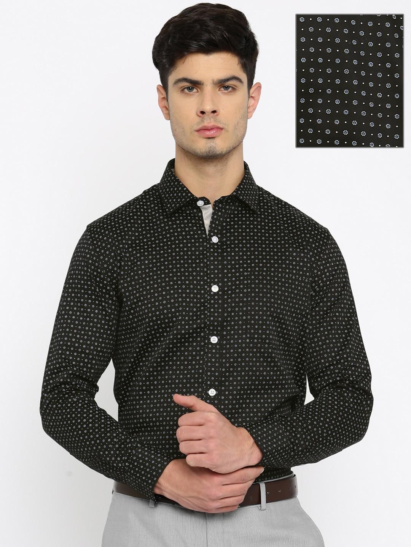 880b9318 John miller 50010324173006 Men Black Slim Fit Printed Formal Shirt- Price  in India