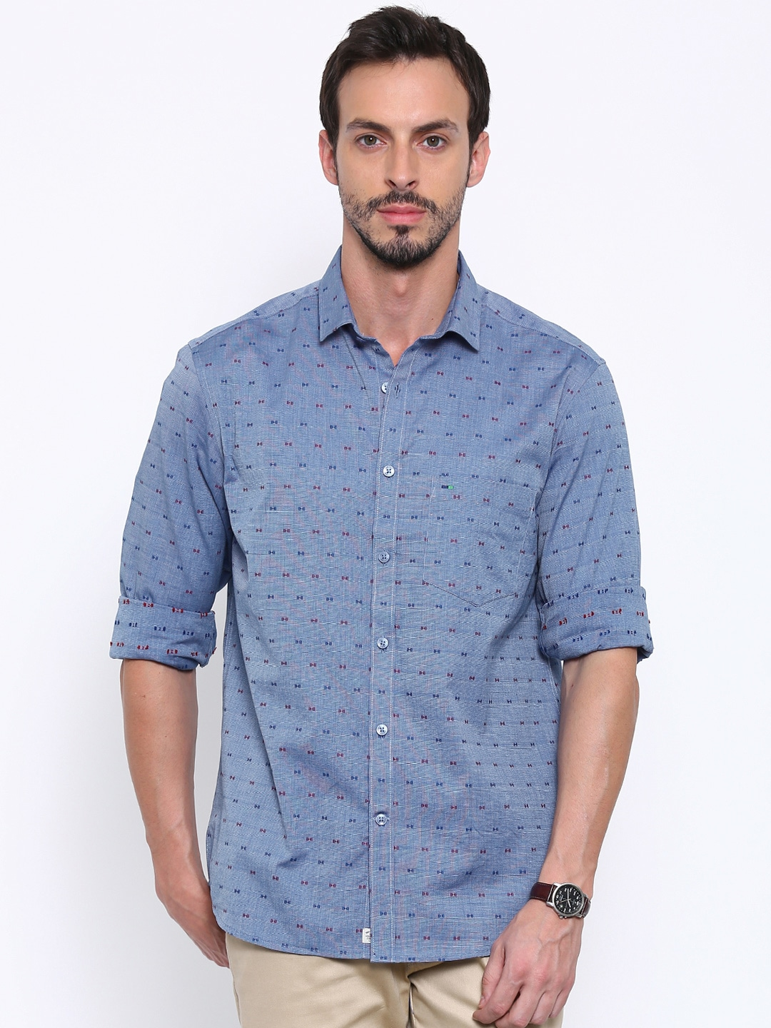 3ef9b4fe73 Indigo nation 50010386242005 Men Blue Edgy Fit Self Design Casual Shirt-  Price in India