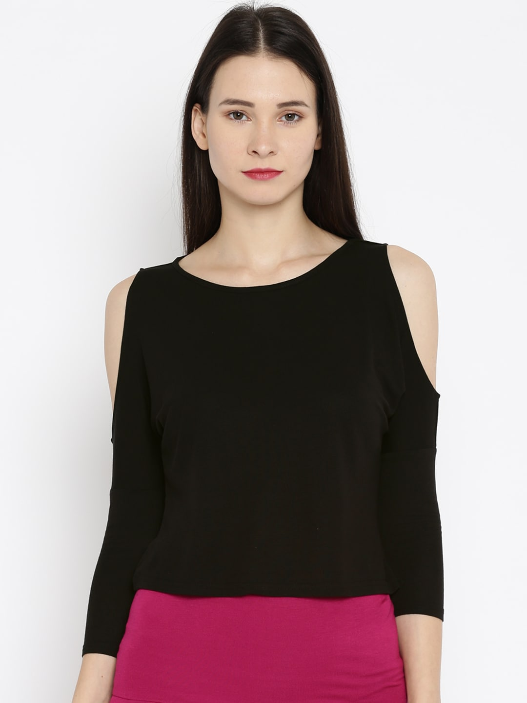 8185cd7f924f2 And aw16r48ktoe By Anita Dongre Women Black Cold Shoulder Top- Price in  India