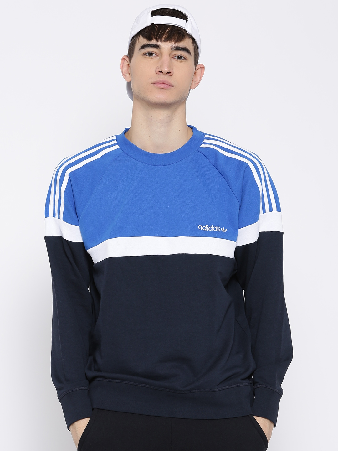 706ed6cea3c6 Adidas originals ay7714 Blue Itasca Crew Colourblocked Sweatshirt- Price in  India