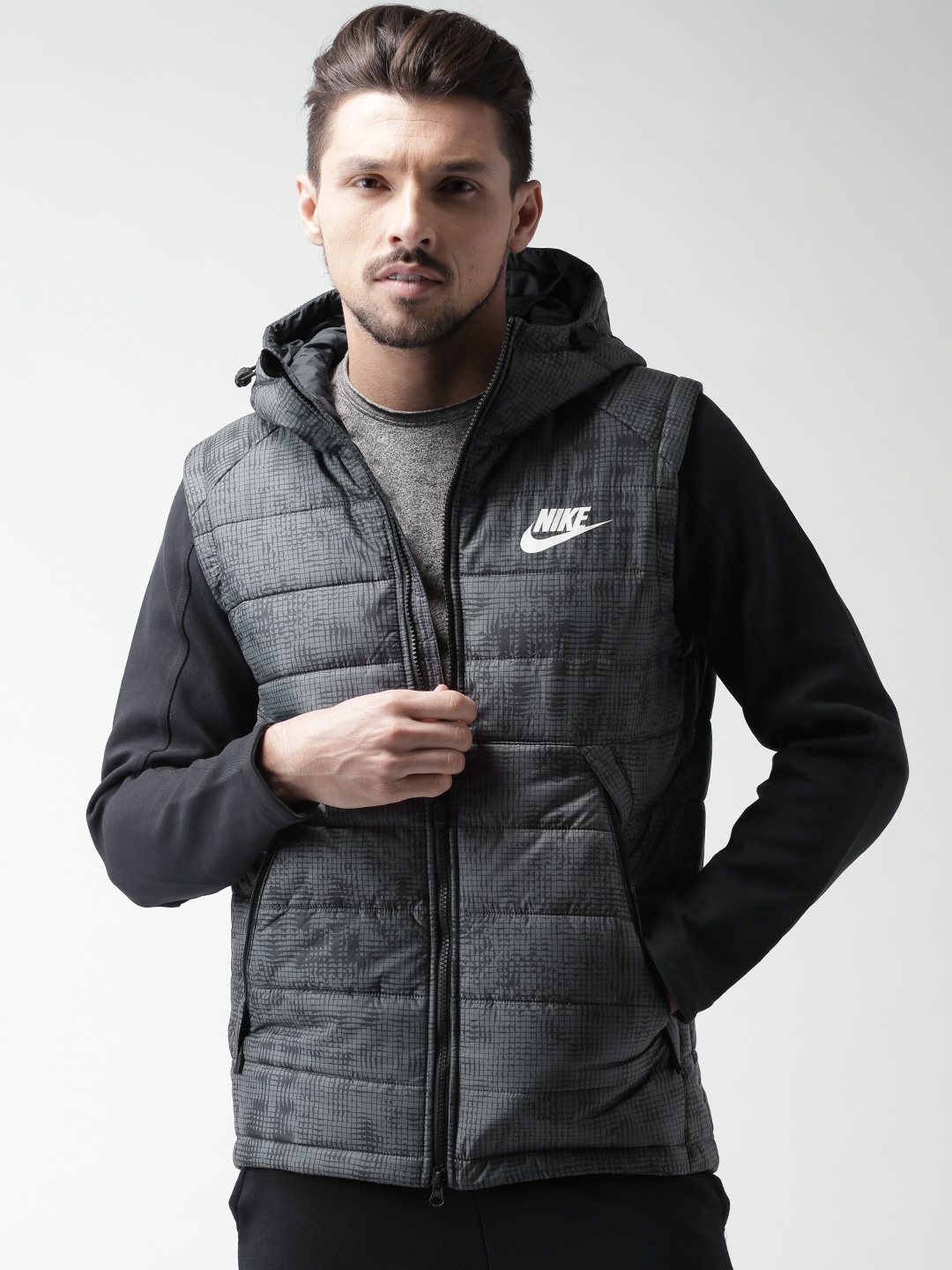Nike 806860-011 Charcoal Grey Printed Padded Hooded Nsw Av15 Syn Hd Jacket-  Price in India