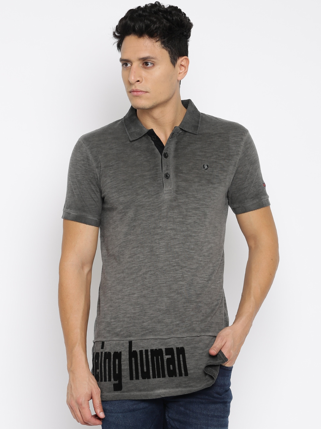 cb4df644 Being human bhp6578-black Men Charcoal Solid Polo Collar T Shirt- Price in  India