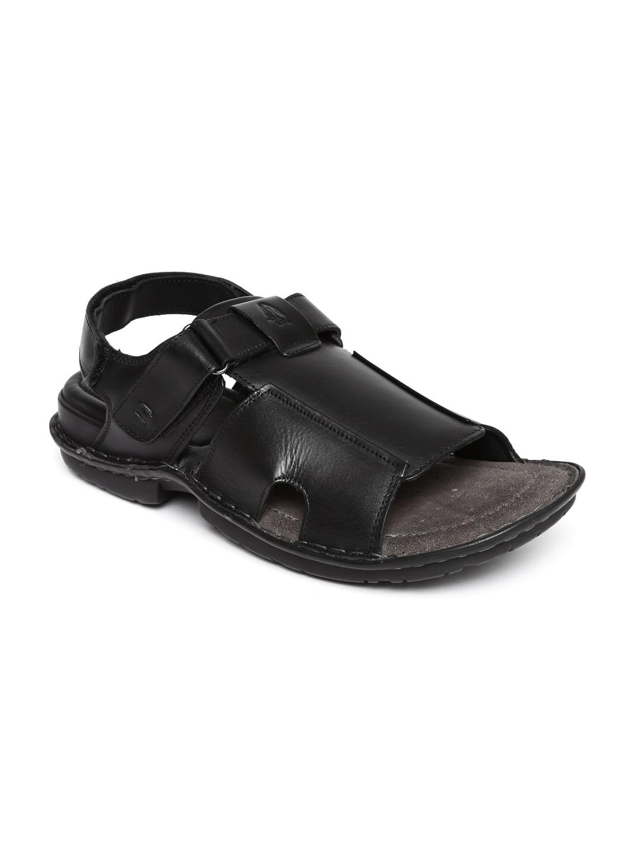Black Leather New Hush Puppies 8646951 Men Decent Sandals FK1JTlc3