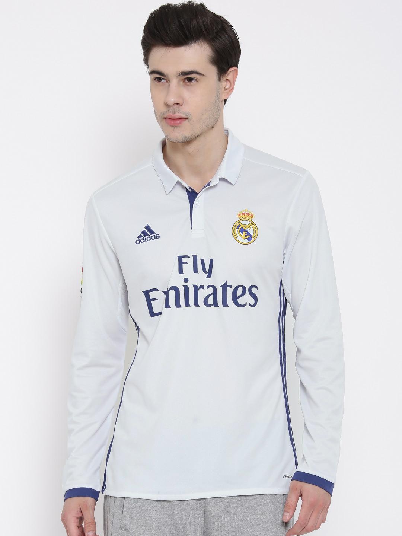 best website 9e10d fb9f2 Adidas ai5184 Men White H Ls Real Madrid F C Printed Polo ...