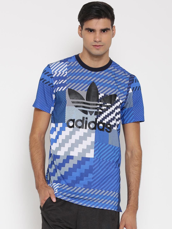 ae347b00 Adidas originals ay8289 Men Blue Es Trefoil Printed Round Neck T Shirt-  Price in India