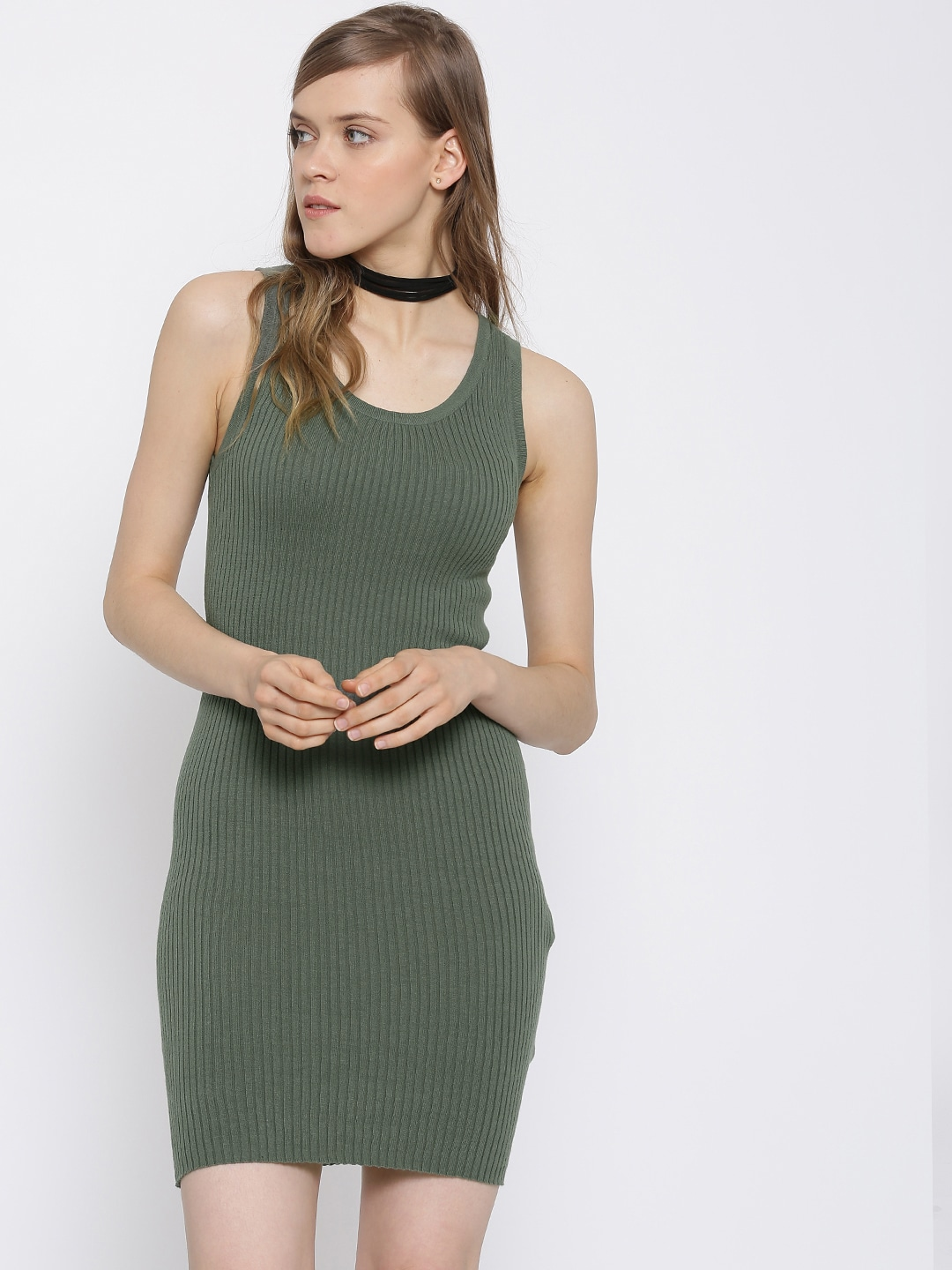 ff65844b74a Forever 21 195822-olive Women Olive Green Self Striped Bodycon Dress- Price  in India