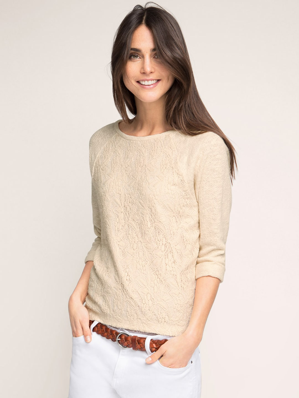 324b96aa36 Esprit 036ee1j006-e285 Women Cream Coloured Lace Sweater- Price in India