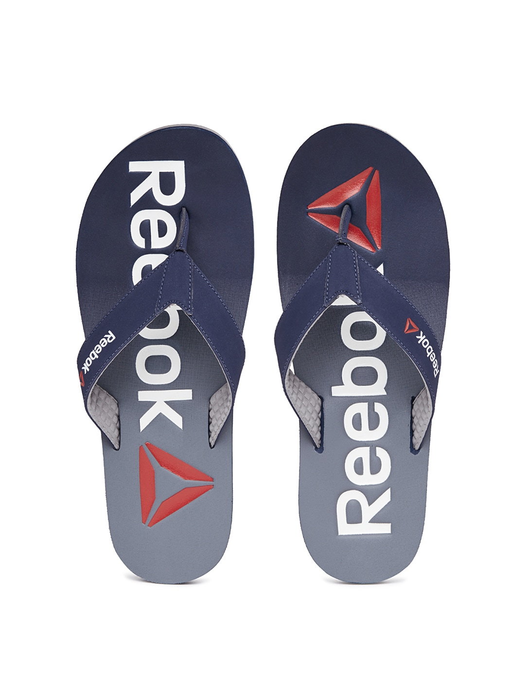 ee9f38fb6 Reebok bd3943 Men Navy And Grey Embossed Printed Flip Flops- Price in India